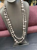 """Women's Ladies Necklace Silver Shades Of Grey Pearl Extra 60"""" Long Chunky"""