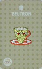 BEUTRON Iron On Motif Applique Patch Tea Cup Saucer YELLOW 9312919042561 BM6324