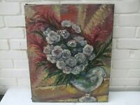 19TH CENTURY OIL ON CANVAS FRENCH IMPRESSIONIST STILL LIFE OF FLOWERS C.1890