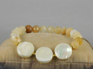 Barse Genuine Bronze Mother of Pearl Quartz SANDY BEACH Stretch Bracelet $38