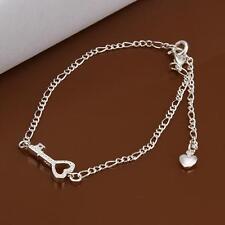 Fashion 925 Sterling Silver Charm Heart Key Foot Bracelet Ankle Chain for Women