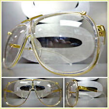 Mens CLASSIC VINTAGE RETRO Style Clear Lens EYE GLASSES Transparent & Gold Frame