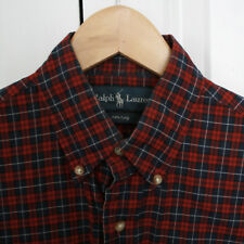 POLO RALPH LAUREN 120's 2-ply cotton button down collar red plaid shirt S NEW