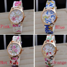 Women's Silicone Printed Flower Causal Watch Quartz Round Wrist Watches Cheap
