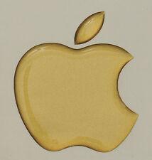 1 x 3D Glossy, domed  Apple logo decal/sticker Apple Accessory. Matt gold vinyl
