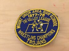 varsity  jacket patch vintage, wrestling champions, 1977-78, new old stock