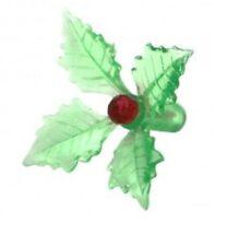 Ceramic Christmas Tree Lights 25 GREEN HOLLY POINSETTIA MEDIUM BULBS RED PINS