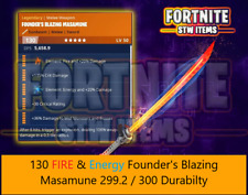 Fortnite stw Modded 130 Fire Energy Founders Masamune Pc Xbox PS4 Save The World