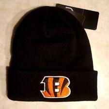CINCINNATI BENGALS Hat Raised Cuff Knit Cap Pom Embroidered Logo NFL New OSFA