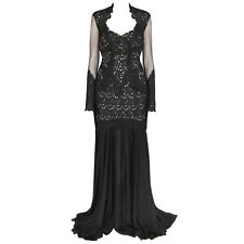 ZUHAIR MURAD long sleeve black lace dress sexy open back gown 44-I/40-F/8-US NEW