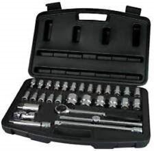 "NEW Stanley 30pc 1/2"" Drive Metric Socket Set 8mm - 32mm & Hex Drive 4mm - 10mm"