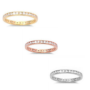 Stackable Yellow,Rose,Silver Channel set Eternity Band 925 Sterling Silver Ring