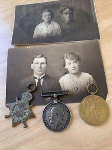 Trio Of WW1 Medals Postcards Of Recipient Gnr Hanson