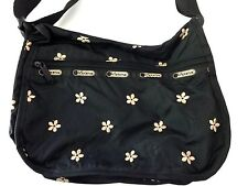 LESPORTSAC BLACK FLORAL CROSSBODY SHOULDER BAG PURSE Medium Size Adjustable
