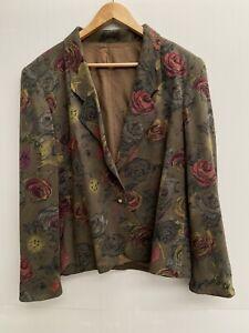 Gerry Weber Jacket Size 12  Green Brown Floral Single Button Blazer Eu Size 40