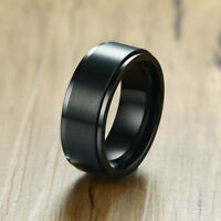 Fashion Black Mens Wedding Ring Scratched Rotary Spinner Band Promise Biker Gift