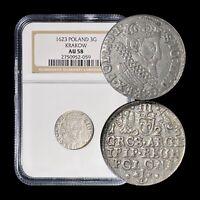 1623 Poland 3 Groschen (Silver)- NGC AU58 (CH aUNC) - OVD Error