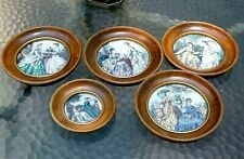 """Victorian Wall Hanging Picture Room Decor 6"""" round set of 5 hand painted etching"""