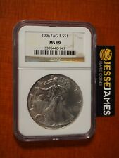 1996 $1 AMERICAN SILVER EAGLE NGC MS69 CLASSIC BROWN LABEL