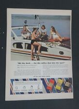 Original 1941 Print Ad EIGHT O'CLOCK COFFEE A&P Boat Lake Relaxing