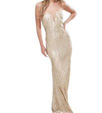 TFNC Bandeau Maxi Dress In Wave Sequin Gold Size UK 12 rrp £85 DH098 GG 14