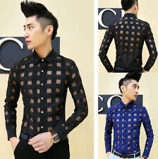 Men's Sexy See Through Plaid Check Slim Fit Button Front Club Casual Shirt Top