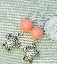 """FREE SHIP Honu Sea Turtle Genuine Pink Coral Earrings 1.7"""" Oceana Jewellery"""