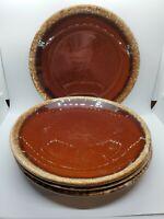 "4 Vintage Hull Pottery USA Brown Drip 10.5"" Dinner Plates Set of 4"