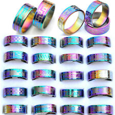 24pcs Wholesale Lot Mixed Resale Arc Rainbow Color Stainless Steel Rings Jewelry