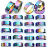 24pcs Wholesale Mixed Resale Arc Rainbow Color Stainless Steel Rings Jewelry
