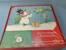 Christmas Holiday Snowman Rabbit Birds 20 Cards & Envelopes Red Green White