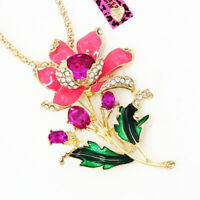 Betsey Johnson Fuchsia Enamel Crystal Flower Pendant Chain Necklace/Brooch Pin
