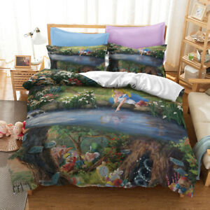 Alice In Wonderland Bedding Set Painting Duvet Cover Princess Pillowcase Bed Set