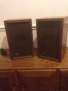 Pair Sony VintageSpeakers Wooden Mid Century Japan Walnut