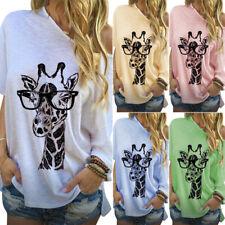 Women One Shoulder Short Sleeve Tunic Giraffe Printed T-shirts Tops Plus Size