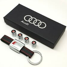 Audi Sline Leather Keyring + 4x Tyre Valve Dust Cover Caps Gift For Him Her Men