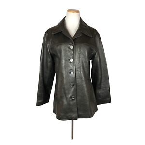 Scully Women's Size 10 Black Pebbled Leather Jacket Button Front Soft