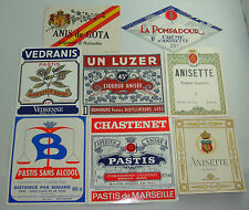 LOT P3  8 ETIQUETTES ALCOOL ANIS PASTIS APERITIF MARSEILLE OLD LABELS ANCIENNES