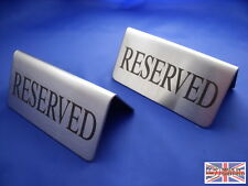 """QUALITY STAINLESS STEEL """"RESERVED"""" TABLE SIGNS x 2"""