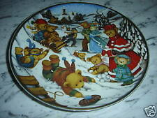 Teddy Bear Winter Frolic Collectible Franklin Mint Heirloom Plate