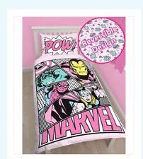 MARVEL COMICS GIRLS AVENGERS PASTELS SINGLE DOONA DUVET QUILT COVER REVERSABLE
