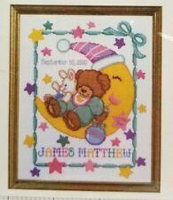 """Moon Teddy Bear Baby Birth Record Counted Cross Stitch Pattern Janlynn 10x13.5"""""""
