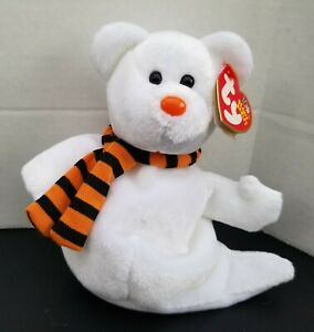NWT TY Beanie Baby Retired QUIVERS Halloween GHOST Bear 2003 MWMT