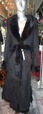 GENUINE Longhair Toscana Shearling Fur Long Coat BLACK Very Small XXXS
