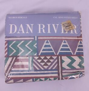Vtg Dan River Percale Fitted Sheet California King Southwestern 180 Thread ct