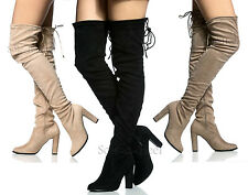 WOMENS LADIES SUEDE OVER THE KNEE THIGH HIGH BLOCK HEEL LACE TIE BACK BOOTS SIZE