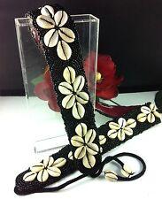 Belt Cowrie Shells Black Seed Beads Kuchi Surf Gypsy 86+21cm Tie Ends