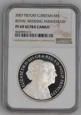 2007 Great Britain Silver Proof £5 Royal Wedding Anniversary NGC PF69UC Thick