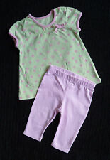 Baby clothes GIRL 0-3m George outfit green/pink heart dress top/pink leggings