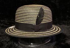 "NWT Bailey Of Hollywood ""COPLEY"" Men's Straw Panama Bowler Hat Black/Natural XL"